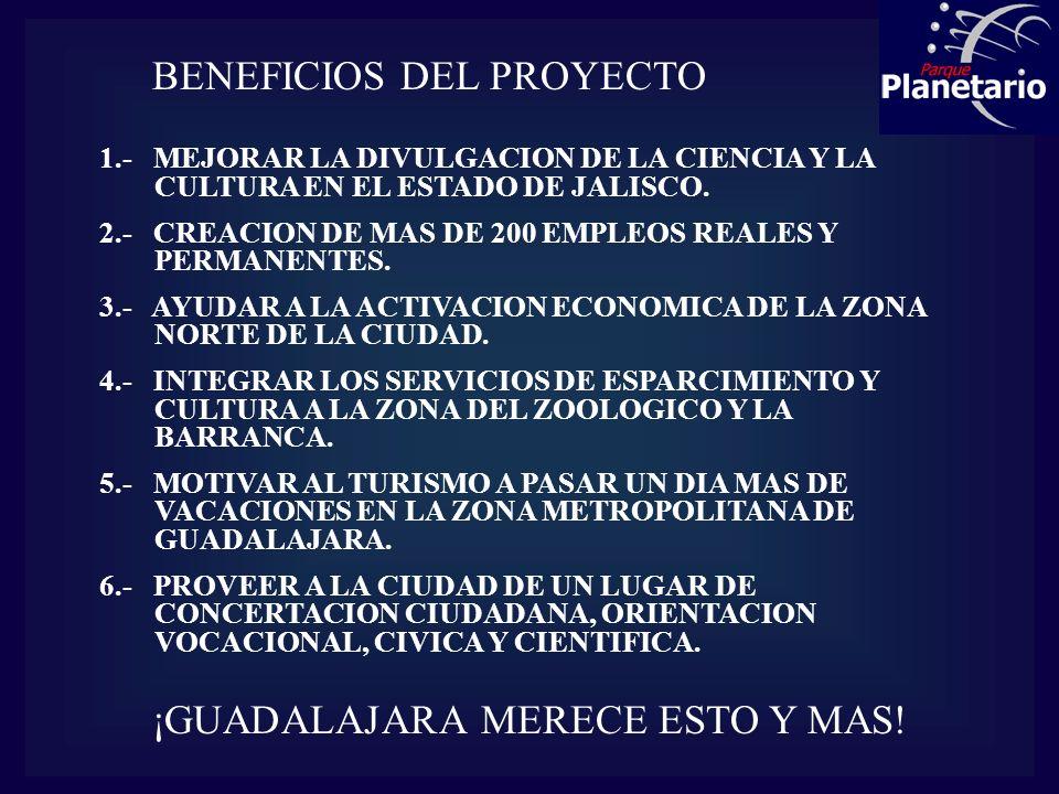 BENEFICIOS DEL PROYECTO 1.- MEJORAR LA DIVULGACION DE LA CIENCIA Y LA CULTURA EN EL ESTADO DE JALISCO. 2.- CREACION DE MAS DE 200 EMPLEOS REALES Y PER