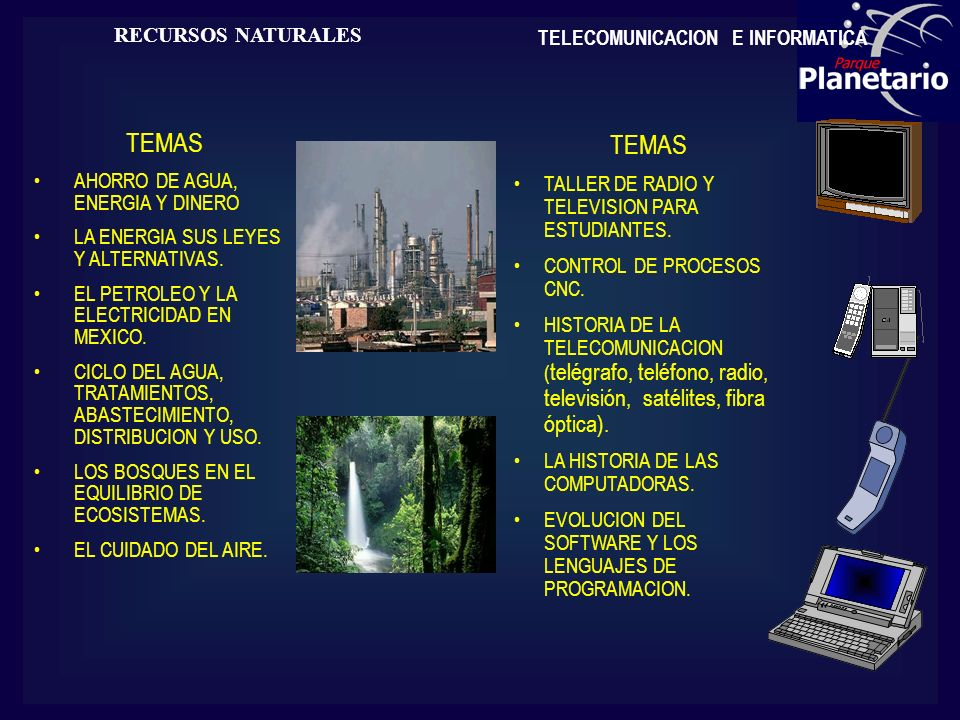 RECURSOS NATURALES TEMAS AHORRO DE AGUA, ENERGIA Y DINERO LA ENERGIA SUS LEYES Y ALTERNATIVAS. EL PETROLEO Y LA ELECTRICIDAD EN MEXICO. CICLO DEL AGUA