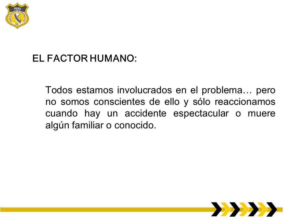 EL FACTOR HUMANO: Todos estamos involucrados en el problema… pero no somos conscientes de ello y sólo reaccionamos cuando hay un accidente espectacular o muere algún familiar o conocido.