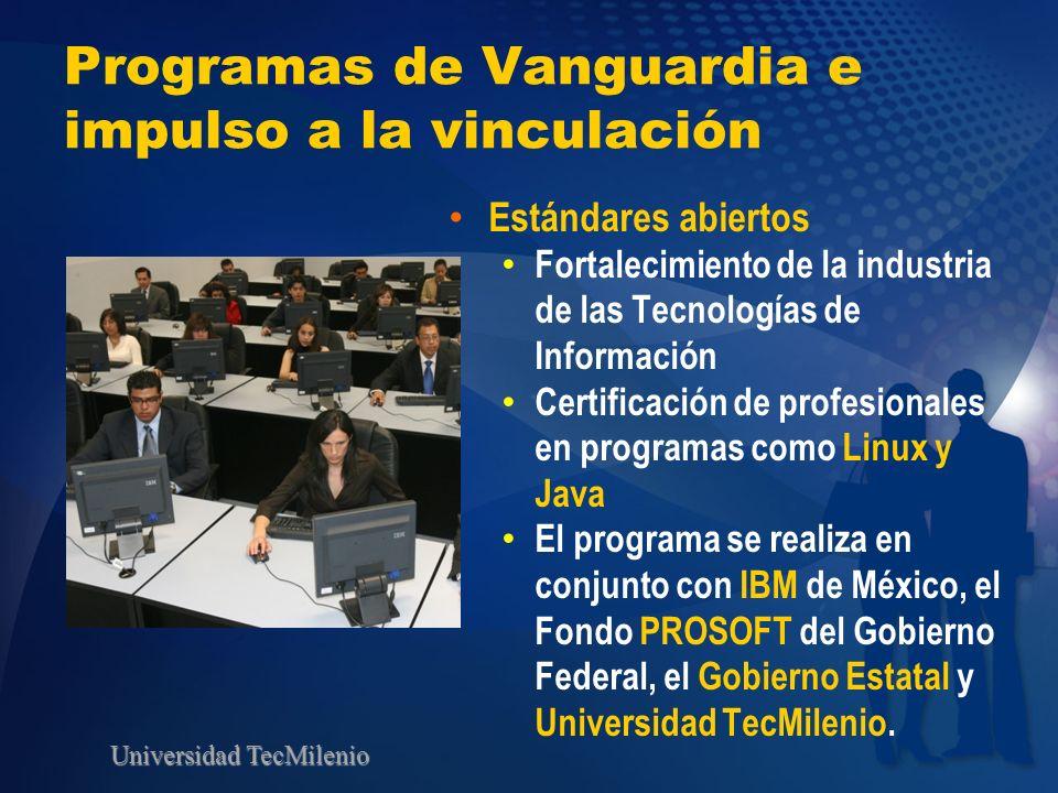 Universidad TecMilenio Programas de Vanguardia e impulso a la vinculación Estándares abiertos Fortalecimiento de la industria de las Tecnologías de In