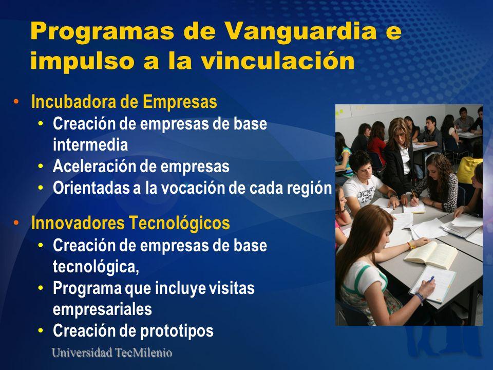 Universidad TecMilenio Programas de Vanguardia e impulso a la vinculación Incubadora de Empresas Creación de empresas de base intermedia Aceleración d