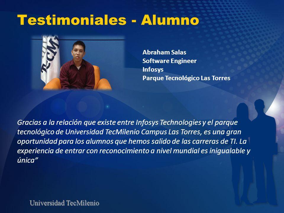 Universidad TecMilenio Testimoniales - Alumno Gracias a la relación que existe entre Infosys Technologies y el parque tecnológico de Universidad TecMi