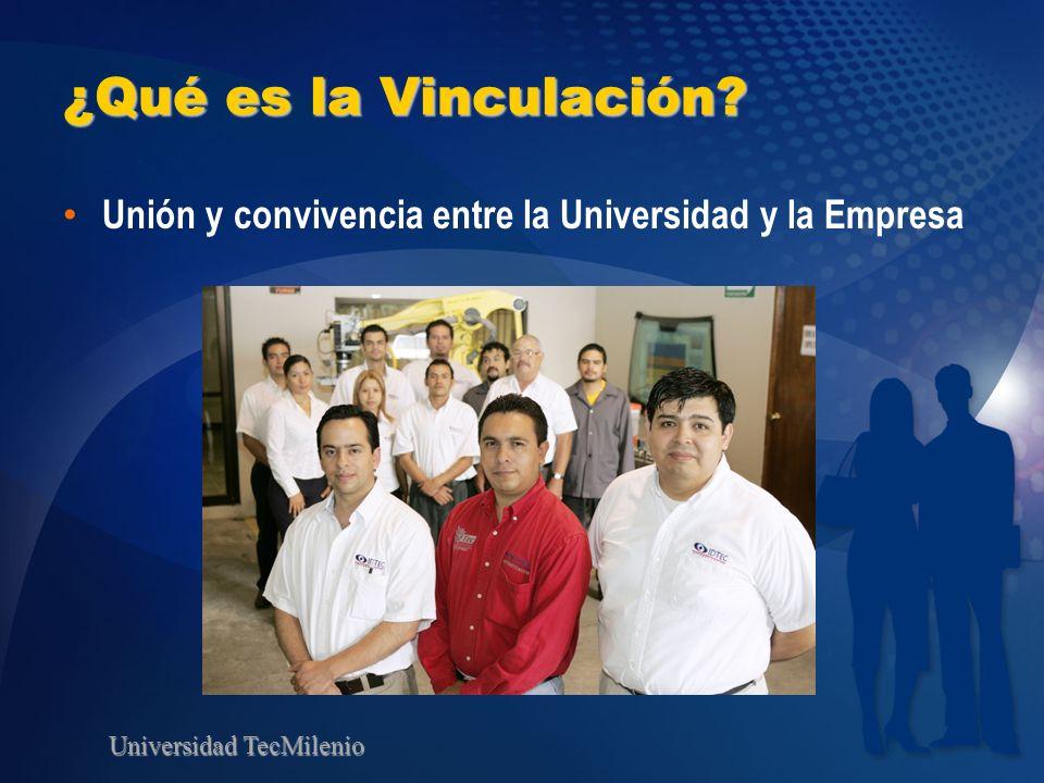 Universidad TecMilenio ¿Qué es la Vinculación? Unión y convivencia entre la Universidad y la Empresa