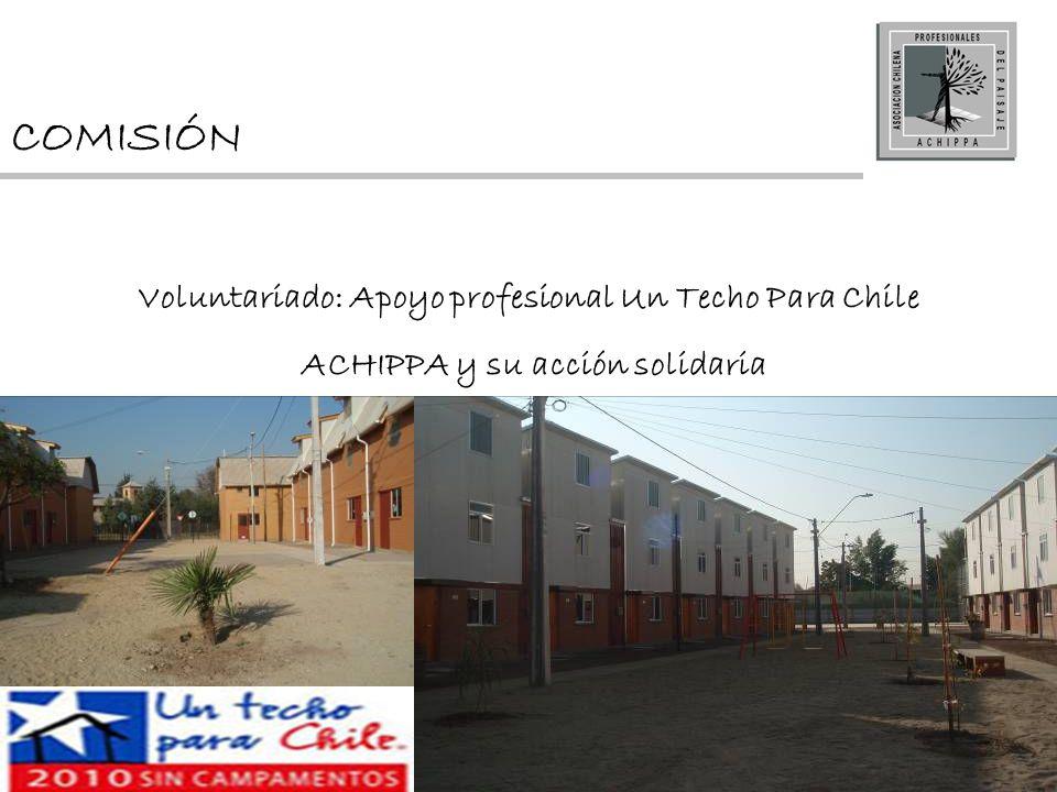 COMISIÓN Voluntariado: Apoyo profesional Un Techo Para Chile ACHIPPA y su acción solidaria
