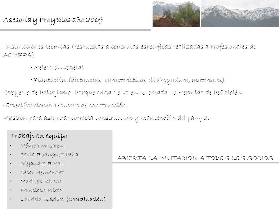 Asesoría y Proyectos año 2009 -Instrucciones técnicas (respuestas a consultas específicas realizadas a profesionales de ACHIPPA) Selección vegetal Pla