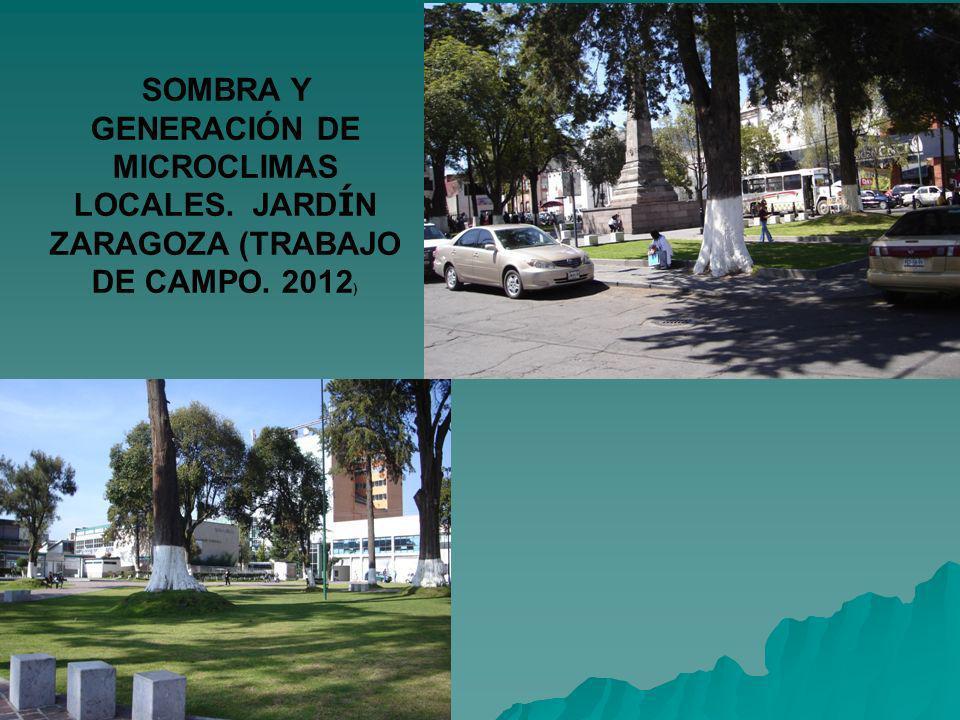SOMBRA Y GENERACIÓN DE MICROCLIMAS LOCALES. JARD Í N ZARAGOZA (TRABAJO DE CAMPO. 2012 )