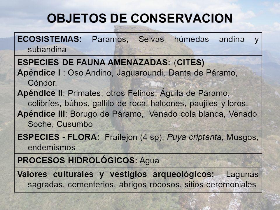 OBJETOS DE CONSERVACION Valores culturales y vestigios arqueológicos: Lagunas sagradas, cementerios, abrigos rocosos, sitios ceremoniales PROCESOS HIDROLÓGICOS: Agua ESPECIES - FLORA: Frailejon (4 sp), Puya criptanta, Musgos, endemismos ESPECIES DE FAUNA AMENAZADAS: (CITES) Apéndice I : Oso Andino, Jaguaroundi, Danta de Páramo, Cóndor.