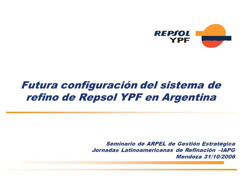 Futura configuración del sistema de refino de Repsol YPF en Argentina Seminario de ARPEL de Gestión Estratégica Jornadas Latinoamericanas de Refinación –IAPG Mendoza 31/10/2006
