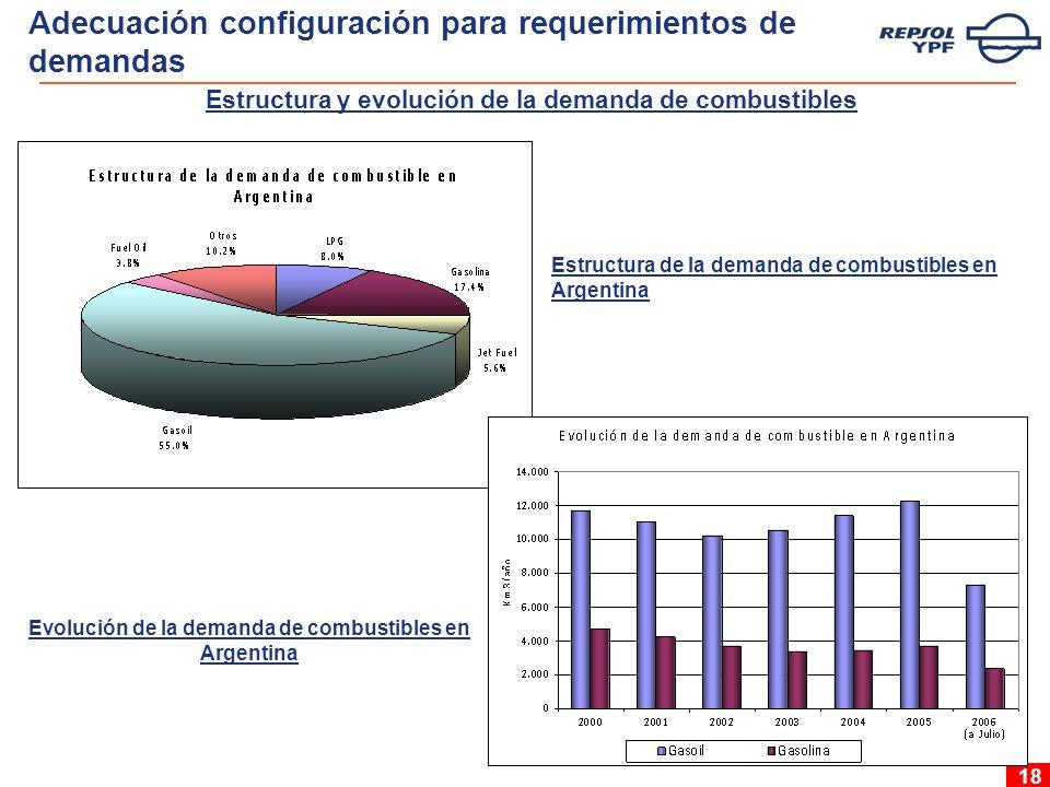 18 Estructura y evolución de la demanda de combustibles Estructura de la demanda de combustibles en Argentina Evolución de la demanda de combustibles en Argentina Adecuación configuración para requerimientos de demandas