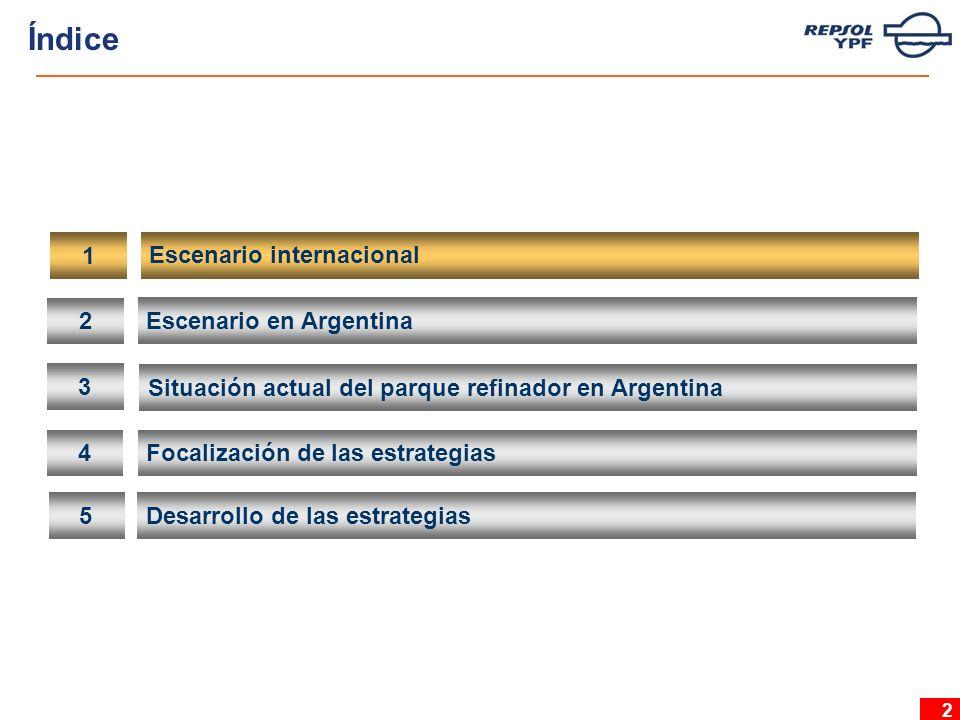 2 2 Escenario en Argentina 3 Situación actual del parque refinador en Argentina 4 Focalización de las estrategias 5 Desarrollo de las estrategias 1 Escenario internacional Índice