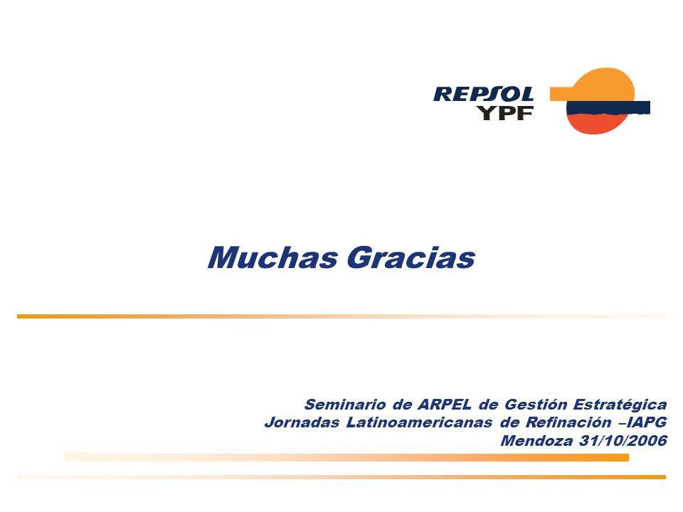 Muchas Gracias Seminario de ARPEL de Gestión Estratégica Jornadas Latinoamericanas de Refinación –IAPG Mendoza 31/10/2006
