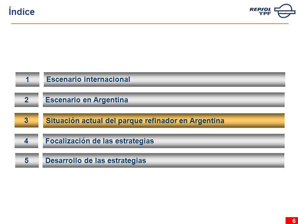 6 2 Escenario en Argentina 3 Situación actual del parque refinador en Argentina 4 Focalización de las estrategias 5 Desarrollo de las estrategias 1 Escenario internacional Índice