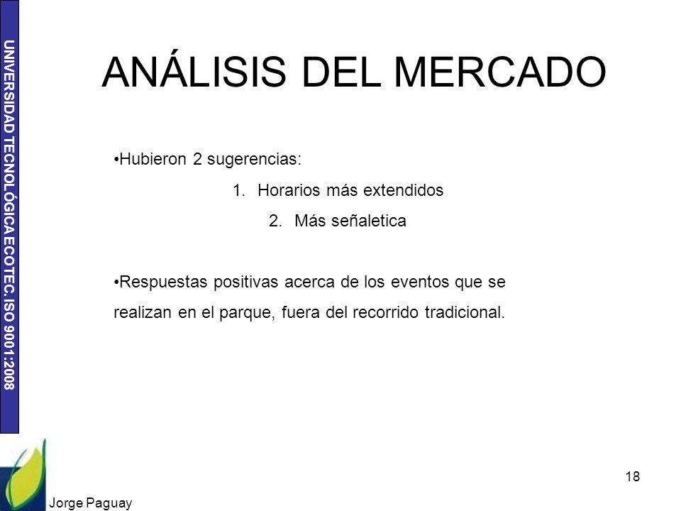 UNIVERSIDAD TECNOLÓGICA ECOTEC. ISO 9001:2008 Jorge Paguay 18 Hubieron 2 sugerencias: 1.Horarios más extendidos 2.Más señaletica Respuestas positivas