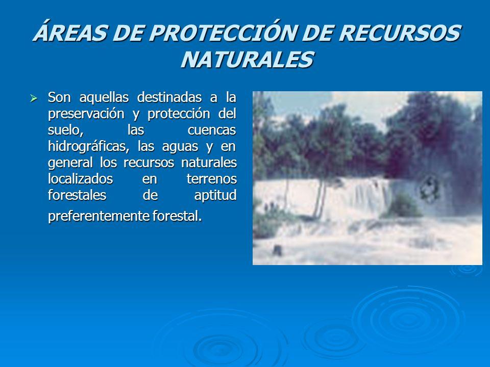 ÁREAS DE PROTECCIÓN DE RECURSOS NATURALES Son aquellas destinadas a la preservación y protección del suelo, las cuencas hidrográficas, las aguas y en