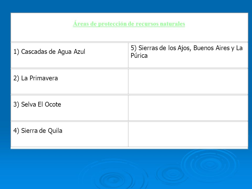 Áreas de protección de recursos naturales 1) Cascadas de Agua Azul 5) Sierras de los Ajos, Buenos Aires y La Púrica 2) La Primavera 3) Selva El Ocote
