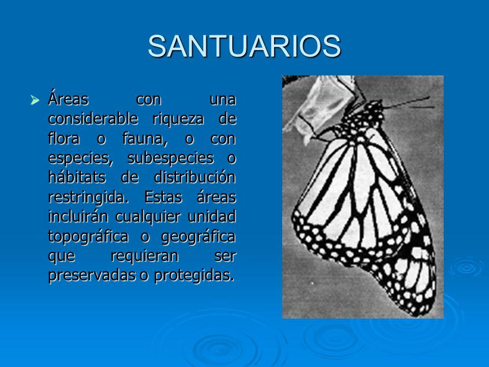 SANTUARIOS Áreas con una considerable riqueza de flora o fauna, o con especies, subespecies o hábitats de distribución restringida. Estas áreas inclui