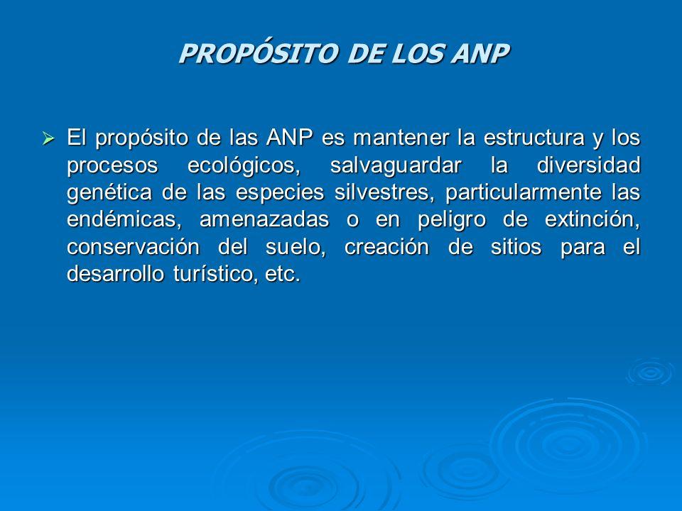 PROPÓSITO DE LOS ANP El propósito de las ANP es mantener la estructura y los procesos ecológicos, salvaguardar la diversidad genética de las especies