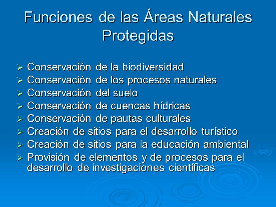 Funciones de las Áreas Naturales Protegidas Conservación de la biodiversidad Conservación de la biodiversidad Conservación de los procesos naturales C