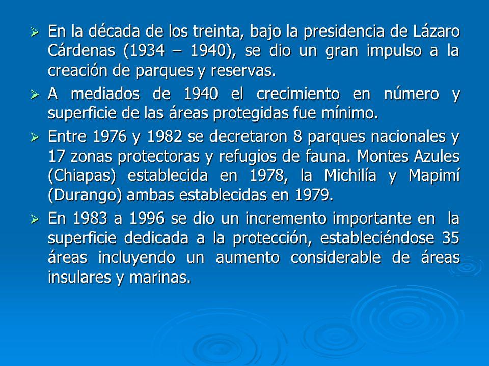 En la década de los treinta, bajo la presidencia de Lázaro Cárdenas (1934 – 1940), se dio un gran impulso a la creación de parques y reservas. En la d