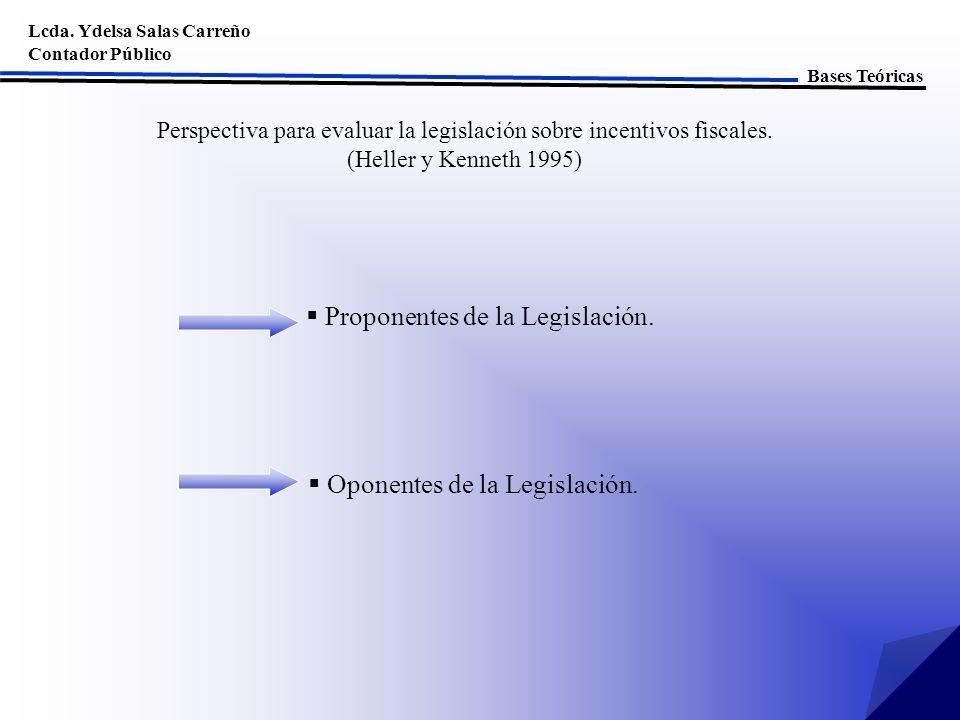 Proponentes de la Legislación. Lcda. Ydelsa Salas Carreño Contador Público Bases Teóricas Oponentes de la Legislación. Perspectiva para evaluar la leg