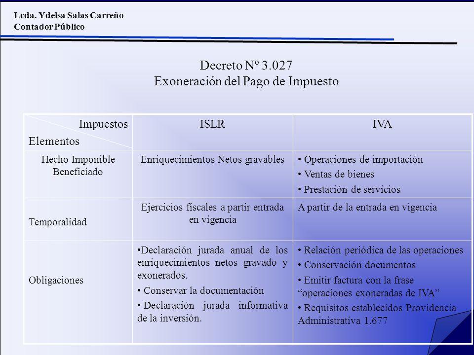 Lcda. Ydelsa Salas Carreño Contador Público Decreto Nº 3.027 Exoneración del Pago de Impuesto Impuestos Elementos ISLRIVA Hecho Imponible Beneficiado
