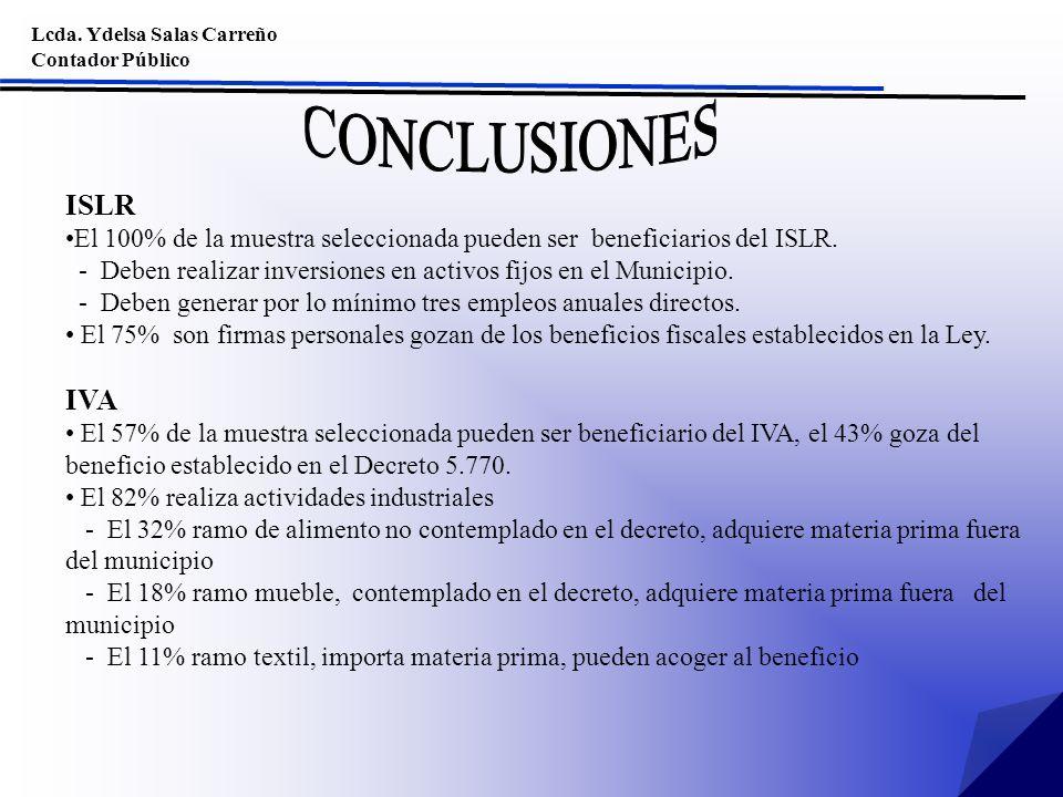 Lcda. Ydelsa Salas Carreño Contador Público ISLR El 100% de la muestra seleccionada pueden ser beneficiarios del ISLR. - Deben realizar inversiones en