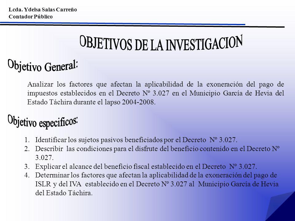 Lcda. Ydelsa Salas Carreño Contador Público Analizar los factores que afectan la aplicabilidad de la exoneración del pago de impuestos establecidos en