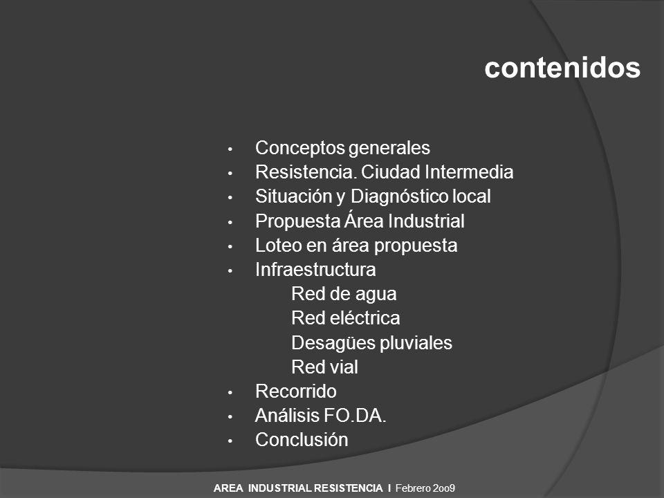 Conceptos generales Resistencia. Ciudad Intermedia Situación y Diagnóstico local Propuesta Área Industrial Loteo en área propuesta Infraestructura Red