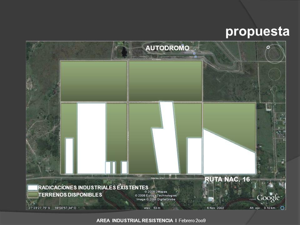propuesta RUTA NAC. 16 AUTODROMO RADICACIONES INDUSTRIALES EXISTENTES TERRENOS DISPONIBLES AREA INDUSTRIAL RESISTENCIA I Febrero 2oo9