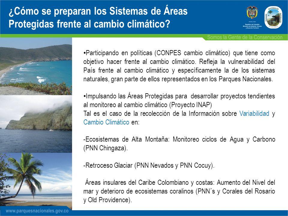 Participando en políticas (CONPES cambio climático) que tiene como objetivo hacer frente al cambio climático. Refleja la vulnerabilidad del País frent