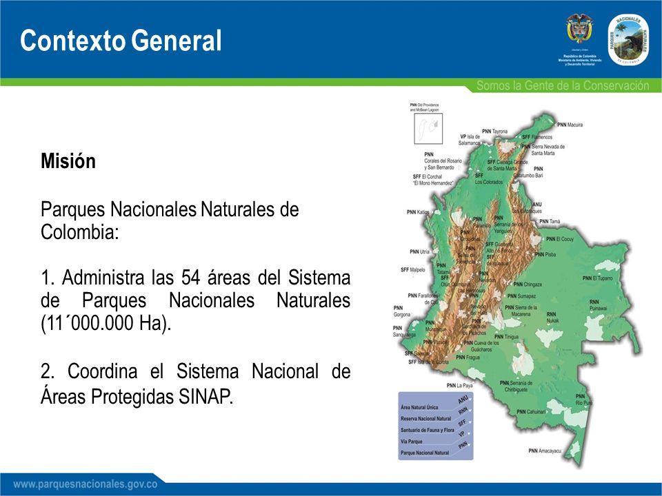 Contexto General Misión Parques Nacionales Naturales de Colombia: 1. Administra las 54 áreas del Sistema de Parques Nacionales Naturales (11´000.000 H