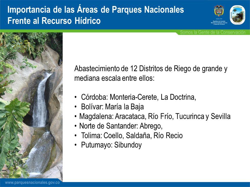 Abastecimiento de 12 Distritos de Riego de grande y mediana escala entre ellos: Córdoba: Monteria-Cerete, La Doctrina, Bolívar: María la Baja Magdalen