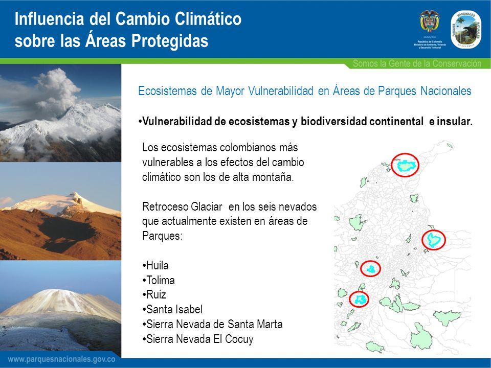 - Las cumbres nevadas del PNN Los Nevados (Ruiz, Santa Isabel y Tolima) han retrocedido aproximadamente un 20% en los últimos 10 años.