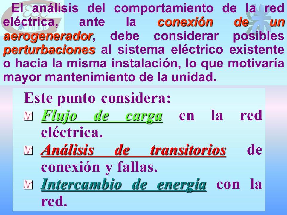Este punto considera: Flujo de carga Flujo de carga en la red eléctrica.