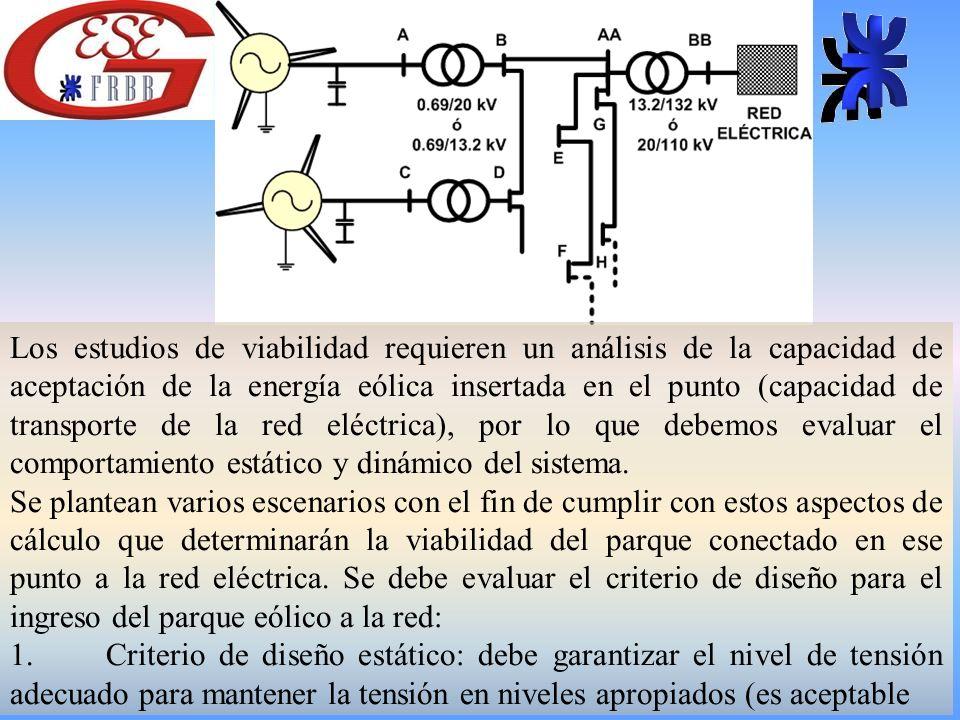 Los estudios de viabilidad requieren un análisis de la capacidad de aceptación de la energía eólica insertada en el punto (capacidad de transporte de la red eléctrica), por lo que debemos evaluar el comportamiento estático y dinámico del sistema.