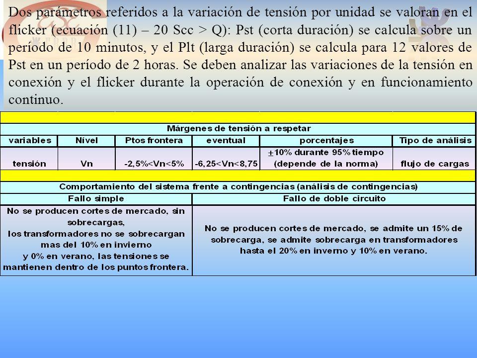 Dos parámetros referidos a la variación de tensión por unidad se valoran en el flicker (ecuación (11) – 20 Scc > Q): Pst (corta duración) se calcula sobre un período de 10 minutos, y el Plt (larga duración) se calcula para 12 valores de Pst en un período de 2 horas.