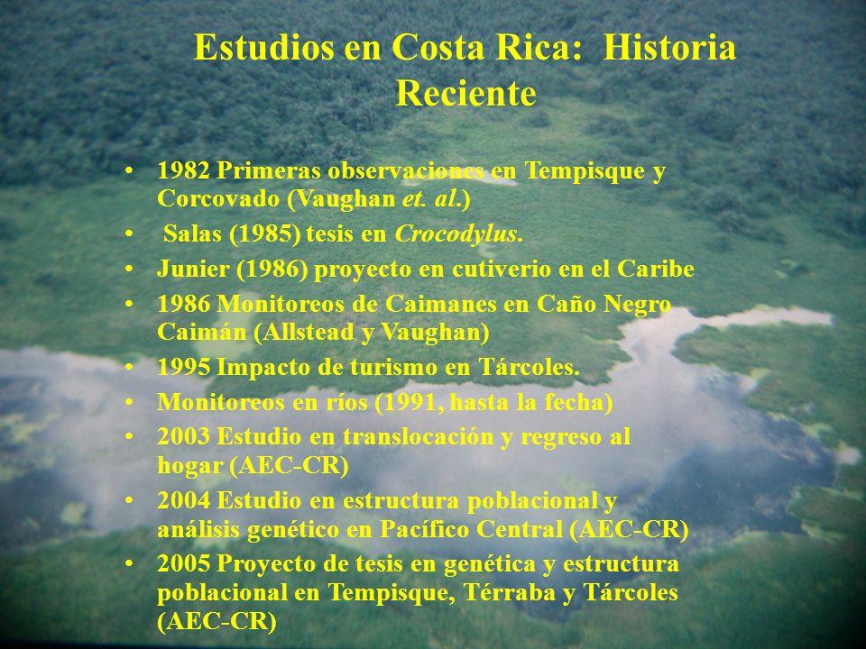 Estudios en Costa Rica: Historia Reciente 1982 Primeras observaciones en Tempisque y Corcovado (Vaughan et.