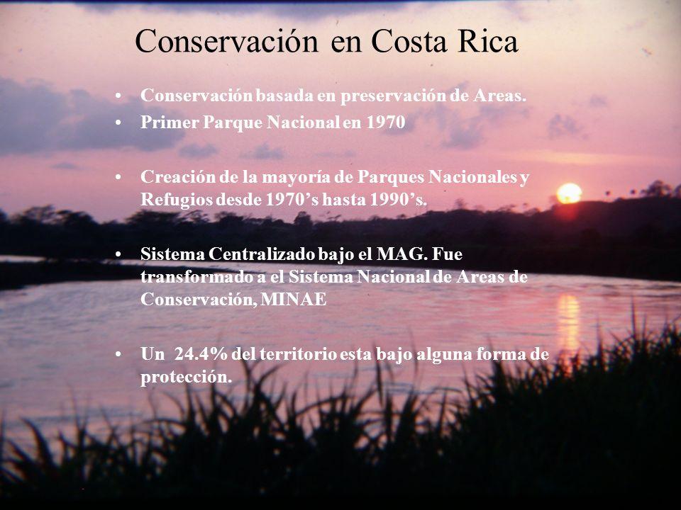 Conservación en Costa Rica Conservación basada en preservación de Areas.