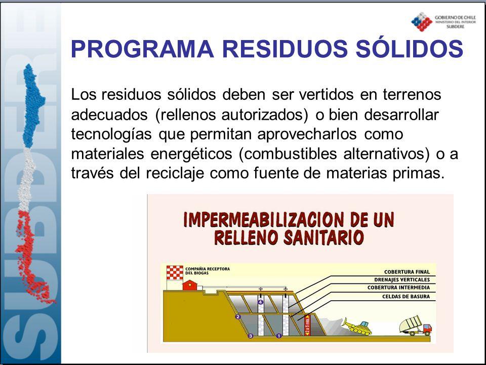 Los residuos sólidos deben ser vertidos en terrenos adecuados (rellenos autorizados) o bien desarrollar tecnologías que permitan aprovecharlos como ma