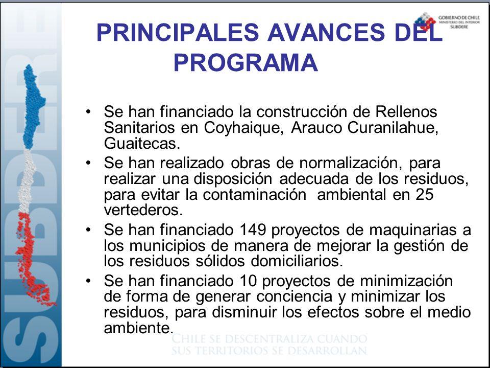 Se han financiado la construcción de Rellenos Sanitarios en Coyhaique, Arauco Curanilahue, Guaitecas. Se han realizado obras de normalización, para re