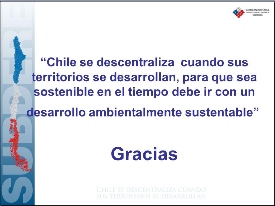 Chile se descentraliza cuando sus territorios se desarrollan, para que sea sostenible en el tiempo debe ir con un desarrollo ambientalmente sustentable Gracias