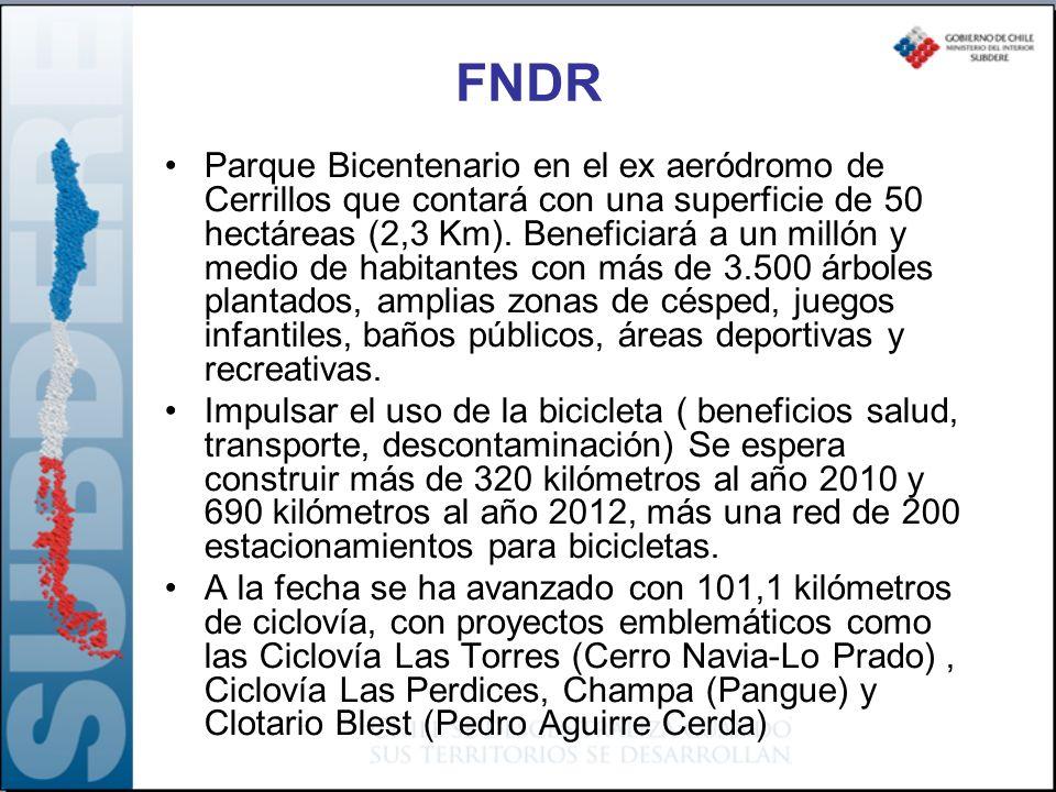 FNDR Parque Bicentenario en el ex aeródromo de Cerrillos que contará con una superficie de 50 hectáreas (2,3 Km). Beneficiará a un millón y medio de h