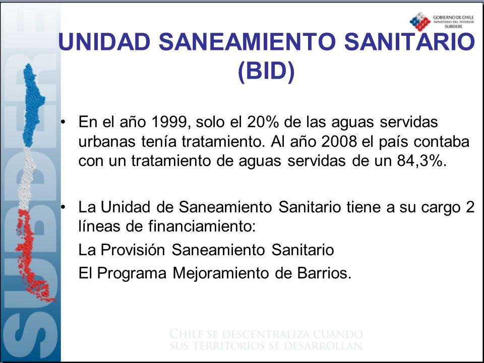 UNIDAD SANEAMIENTO SANITARIO (BID) En el año 1999, solo el 20% de las aguas servidas urbanas tenía tratamiento. Al año 2008 el país contaba con un tra