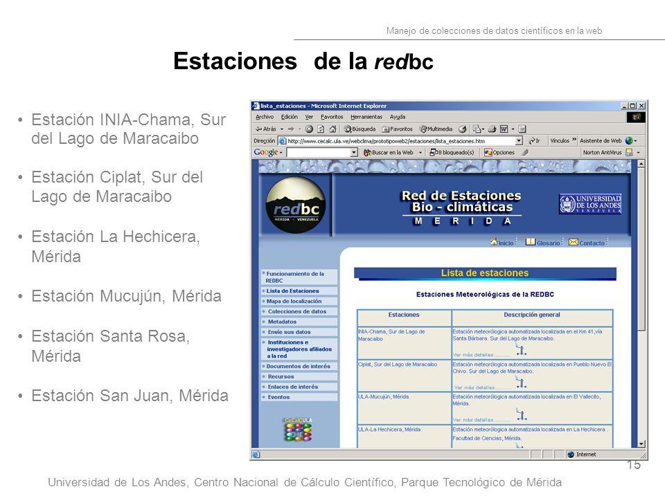 15 Manejo de colecciones de datos científicos en la web Universidad de Los Andes, Centro Nacional de Cálculo Científico, Parque Tecnológico de Mérida