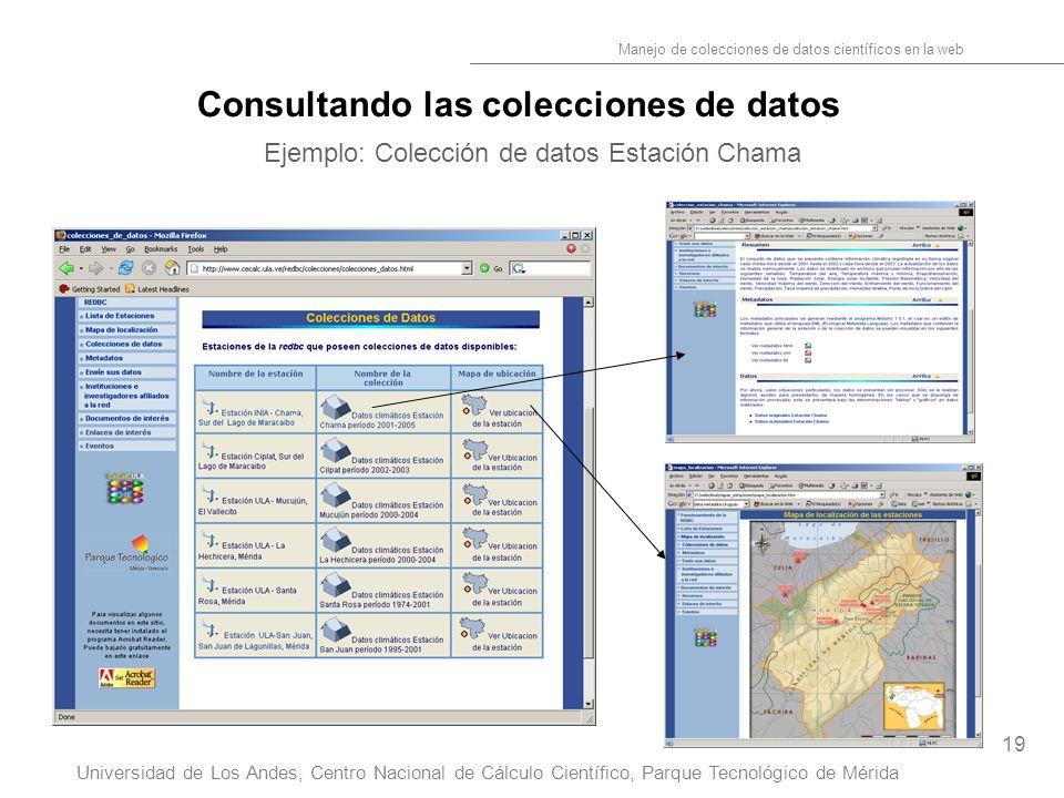 19 Manejo de colecciones de datos científicos en la web Universidad de Los Andes, Centro Nacional de Cálculo Científico, Parque Tecnológico de Mérida