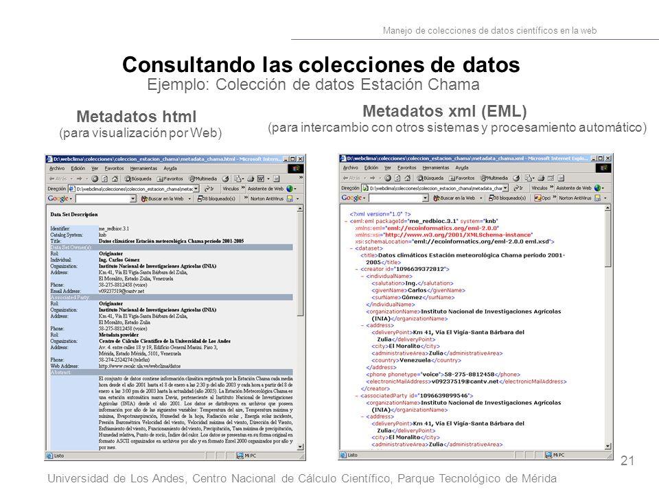 21 Manejo de colecciones de datos científicos en la web Universidad de Los Andes, Centro Nacional de Cálculo Científico, Parque Tecnológico de Mérida