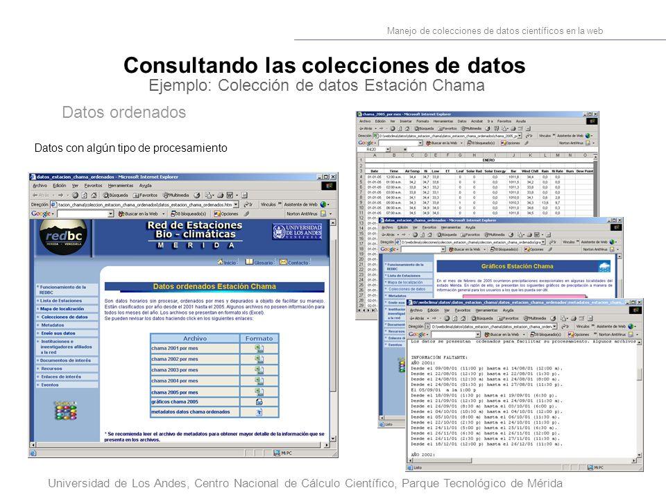24 Manejo de colecciones de datos científicos en la web Universidad de Los Andes, Centro Nacional de Cálculo Científico, Parque Tecnológico de Mérida