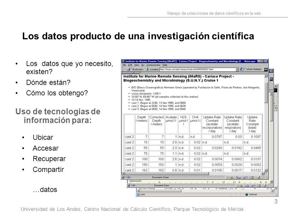 3 Manejo de colecciones de datos científicos en la web Universidad de Los Andes, Centro Nacional de Cálculo Científico, Parque Tecnológico de Mérida Los datos que yo necesito, existen.