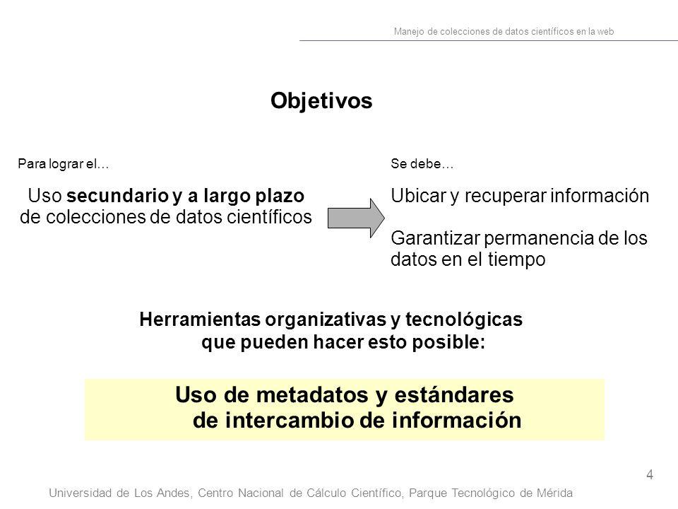 4 Manejo de colecciones de datos científicos en la web Universidad de Los Andes, Centro Nacional de Cálculo Científico, Parque Tecnológico de Mérida O