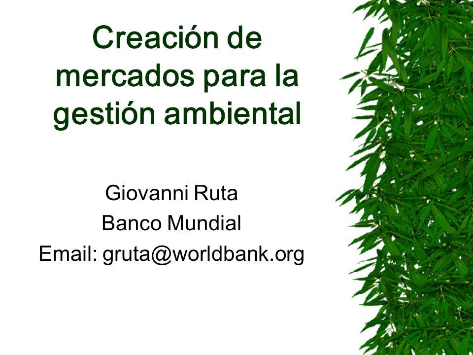 Creación de mercados para la gestión ambiental Giovanni Ruta Banco Mundial Email: gruta@worldbank.org